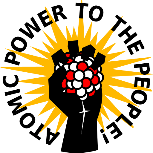 """Man and Atom Society """"Atomic Fist"""" logo, with the slogan """"Atomic Power to the People!"""""""